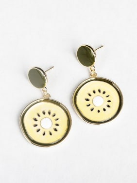 Simple Kiwi fruit Copper inlaid platinum Drop Earrings