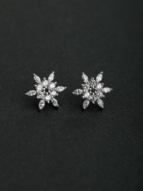 inlaid zircon Sun flower 925 silver Stud earrings
