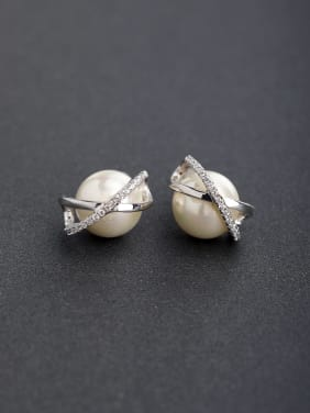 Micro inlay Zircon Imitation pearls 925 silver Drop Earrings