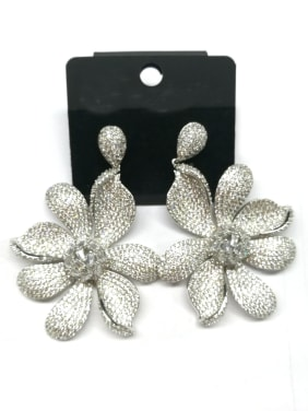 Copper With White Gold Plated Trendy Flower Earrings
