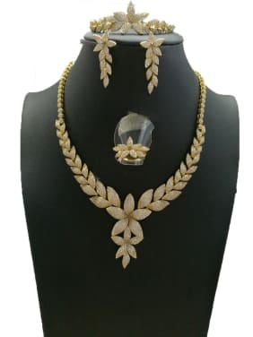 Copper With Gold Plated Classic Flower 4 Piece Jewelry Set