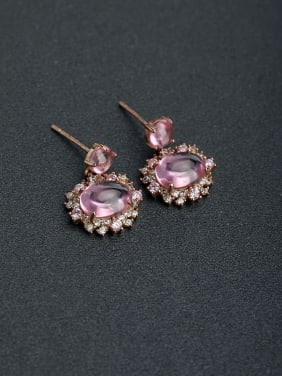 Micro inlay Rhinestone Droplet semi-precious stones Simple 925 silver Stud earrings