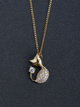 Micro inlay cute Cat 925 Silver Necklaces