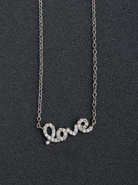 Micro inlay Zircon letter love  925 Silver Necklaces