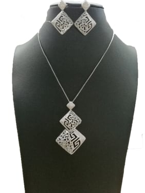 Copper With White Gold Plated Fashion Square 2 Piece Jewelry Set