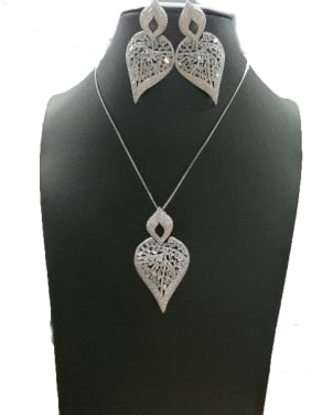 Copper With White Gold Plated Fashion Leaf 2 Piece Jewelry Set