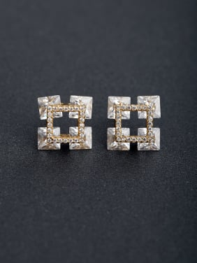 Micro inlay Three-dimensional zircon 925 silver Drop Earrings