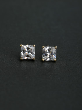 Bling bling Square zircon 925 silver Stud earrings