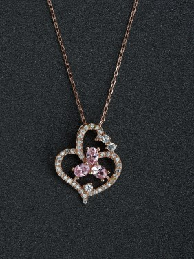Love buckle Rhinestone crystal 925 silver necklace