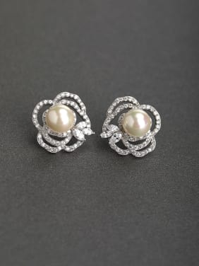 Bling bling Zircon Imitation pearls 925 silver Stud earrings