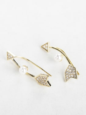 Bow shape Zircon Imitation pearls earrings