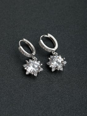 Micro inlay Zircon round  925 silver clip on earrings