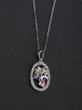 Inlaid zircon crystals 925  Silver Necklace