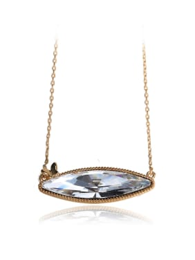 Unique luxury eye shape stone Swarovski element crystal necklace
