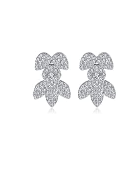 Copper With Platinum Plated Delicate Leaf Cluster Earrings