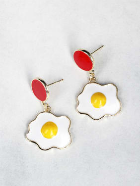Traditional food modeling accessories Tomato scrambled eggs Drop Earrings