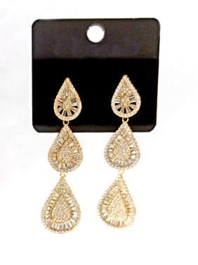 Copper With Gold Plated Trendy Chain Earrings