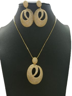 Copper With Gold Plated Fashion Oval 2 Piece Jewelry Set