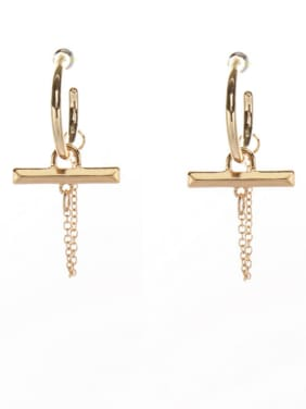 Mother's Initial Gold Drop drop Earring with Cross