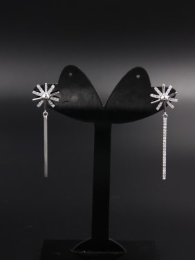 Model No Z00852H Flower Platinum Plated Zircon White Drop drop Earring