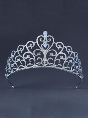 Heart Platinum Plated Zircon White Wedding Crown