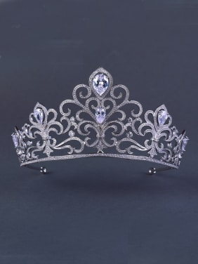 White Wedding Crown with Zircon