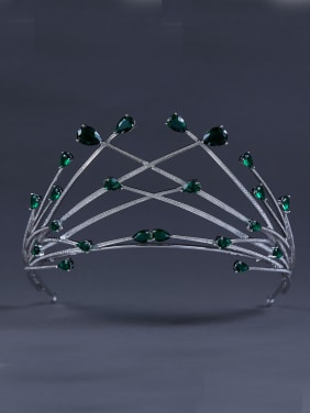 Custom Green Wedding Crown with Platinum Plated