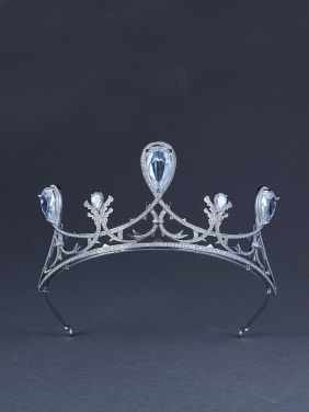 Platinum Plated White Zircon Beautiful Wedding Crown