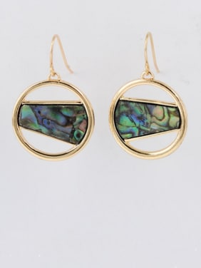 Geometric Youself ! Gold Plated Zinc Alloy Shell Drop drop Earring