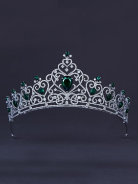 Green Heart Wedding Crown with Platinum Plated Zircon