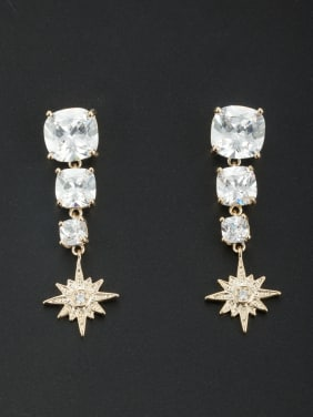 White Star Youself ! Gold Plated Zircon Drop drop Earring