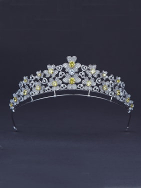 New design Platinum Plated Yellow Zircon Flower Wedding Crown