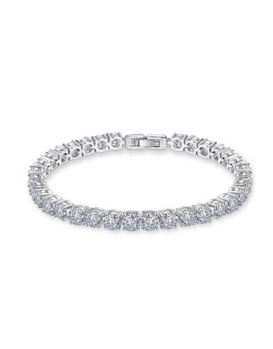 AAA+Cubic Zircon,Tennis round deluxe Bracelet,Platinum plated