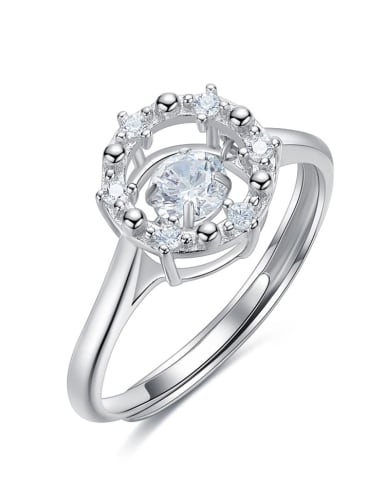 925 Sterling Silver With Platinum Plated Delicate Round Dancing stone Ring