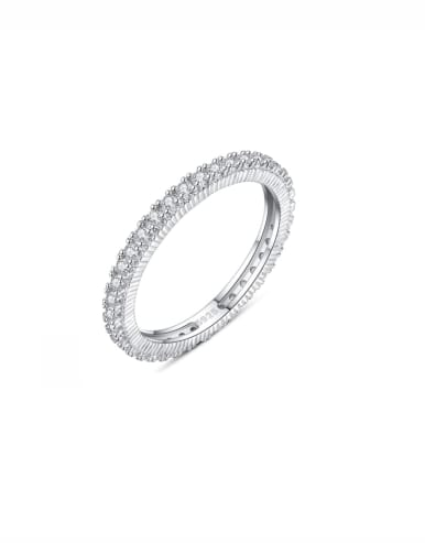 925 Sterling Silver With Platinum Plated  Simplistic Band Ring