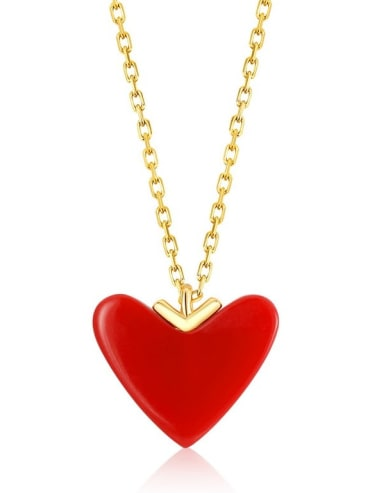 925 Sterling Silver With Gold Plated Classic Heart Locket Necklaces