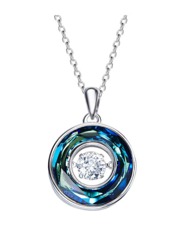 925 Sterling Silver , Swarovski Crystal round,Dancing stone Necklaces