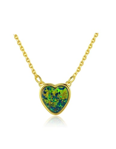 925 Sterling Silver With Opal Classic Heart Locket Necklace