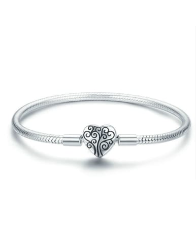 925 silver cute heart element basic bracelet