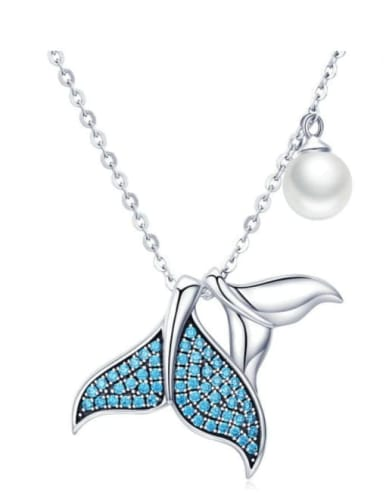 925 Silver Pearl Mermaid Necklace