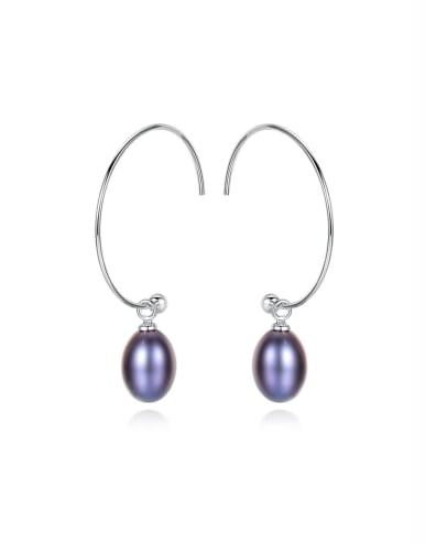 925 Sterling Silver With Freshwater Pearl Oval Hoop Earrings