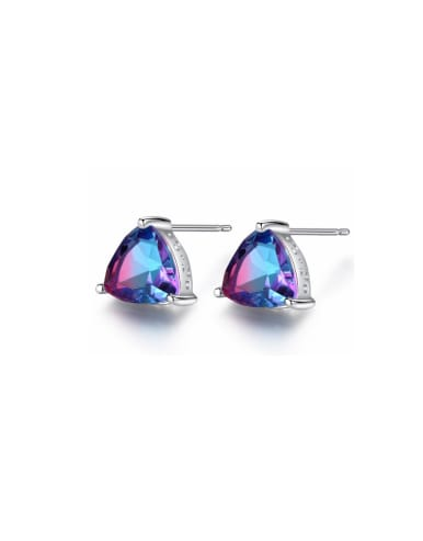 925 Sterling Silver With Mystic Topaz Triangle Stud Earring