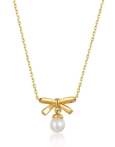 925 Sterling Silver With Freshwater Pearl Cute Bowknot Necklaces