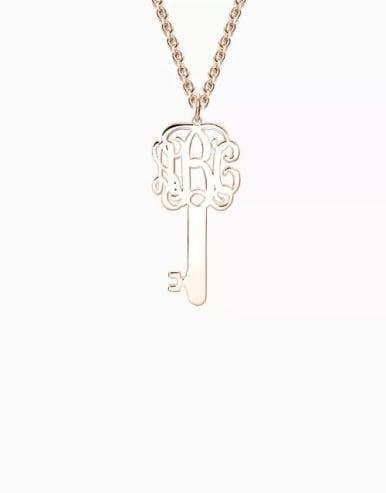 Customize Key Monogram Necklace Silver