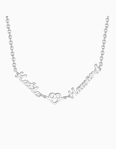 Customized Love Hug Two Name Necklace Silver
