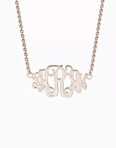 Customize Celebrity Monogram Necklace sterling Silver