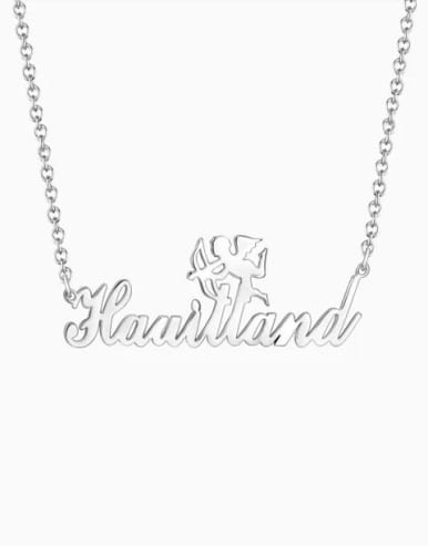 Customized Silver Cupid Name Necklace 18K White Plated