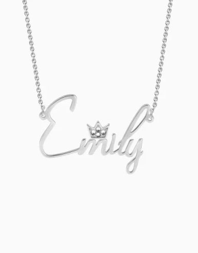 Personalized Crystal Name Necklace With Crow Silver