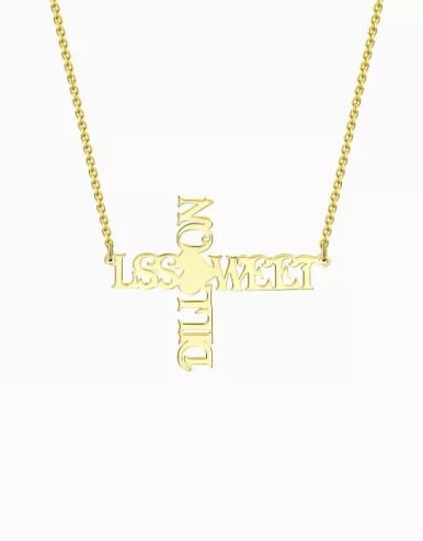 Customize Personalized Cross Two Name Necklace
