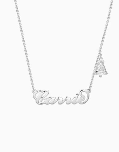 Customize Silver Personalized  Father Christmas Name Necklace
